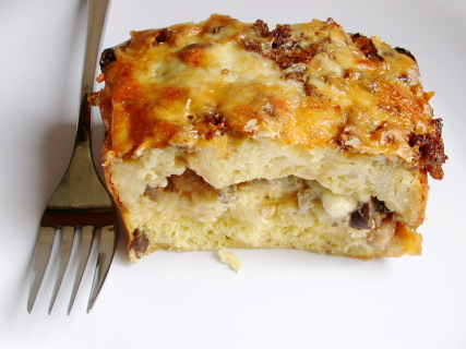 breakfast strata with sausage mushrooms and monterey jack - Strata Egg Dish