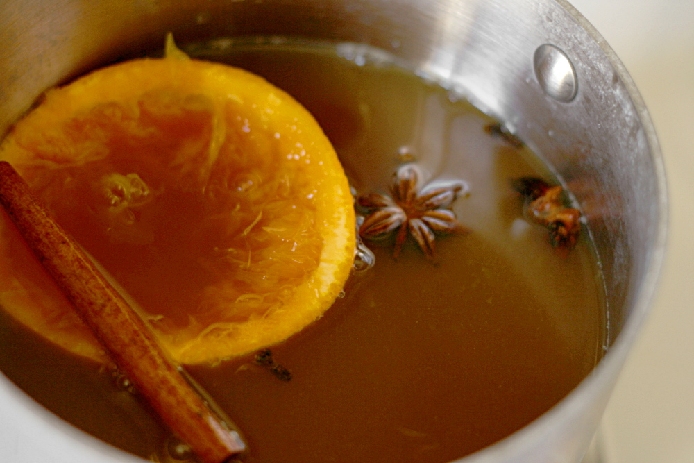 Hot Mulled Cider (adapted from Ina Garten )