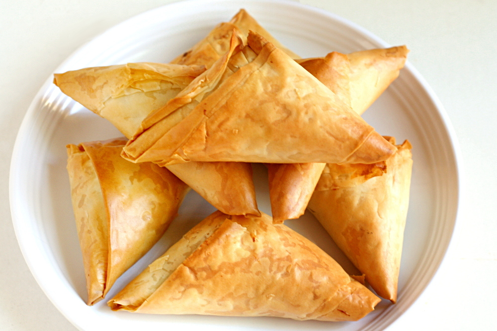 phyllo triangles: crawfish and mushroom fillings